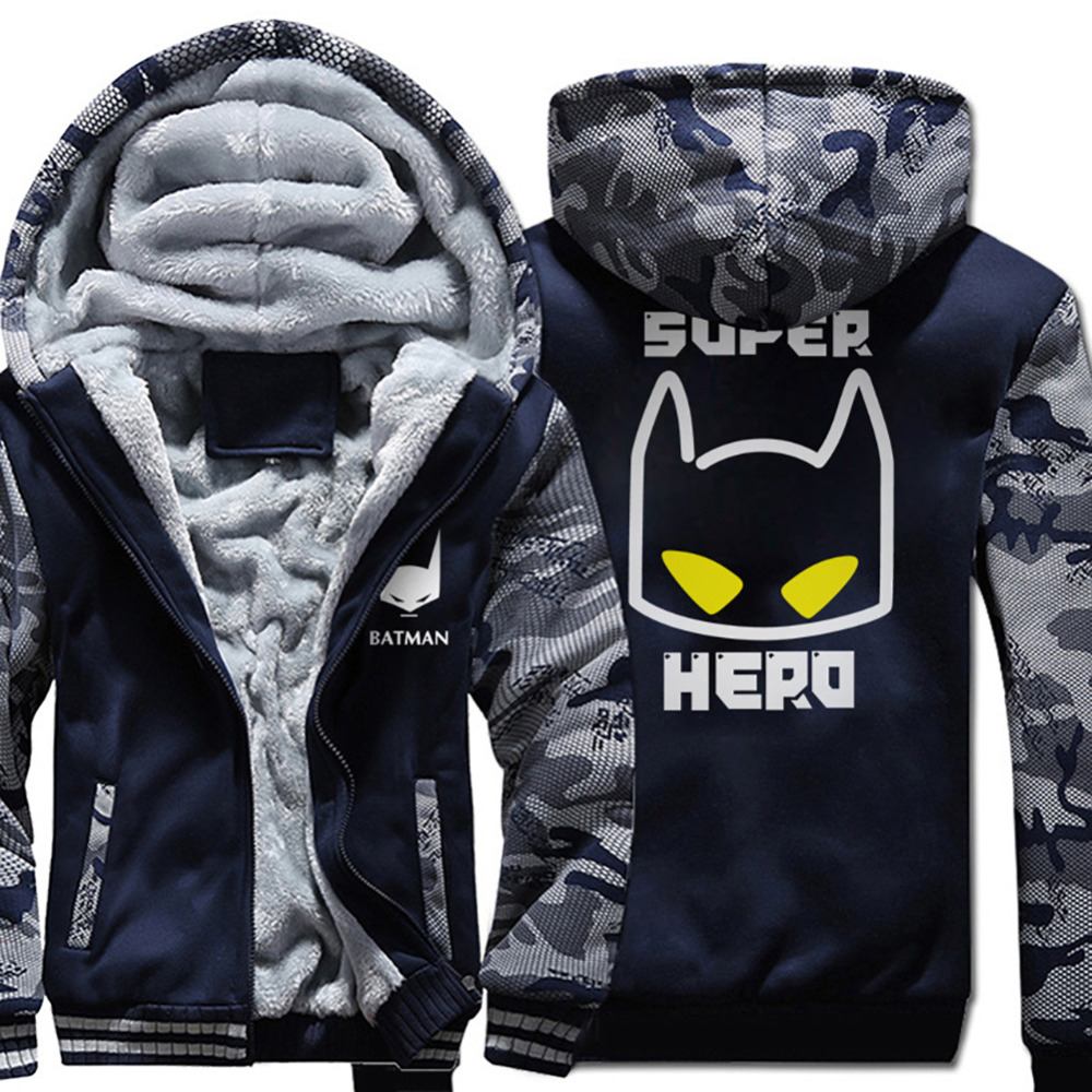 New Super Hero Batman Hoodie Men Cartoon Sweatshirts Coat 2018 Winter Warm Fleece Thick Print Camouflage Jacket Streetwear