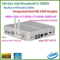Intel Broadwell i3 5005u Intel HD Graphics 5500 Fanless I3 Mini Pc Windows 7 win8 win10 VGA HDMI Mini Nettop Htpc