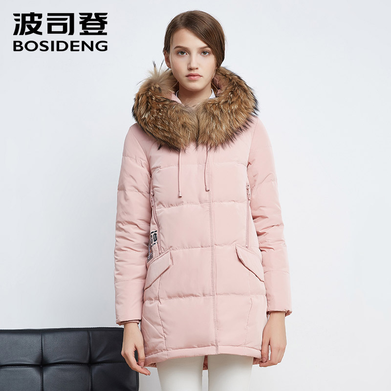 BOSIDENG new women   down   jacket mid-long thick   down   parka   down     coat   real raccoon fur sold color high quality B1601226