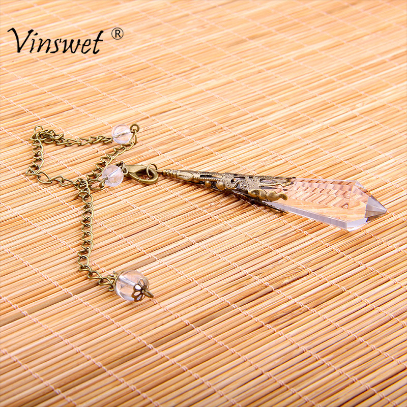 Trendy Natural Clear Crystal Healing Crystals Pendulum Quartz Crystal Pendant Necklace Dowsing Reiki Chakra Pendulum Jewelry 2017 ayliss fashion 1pc chakra gem stone tree of life wire wrapped natural clear quartz healing crystal point pendant necklace
