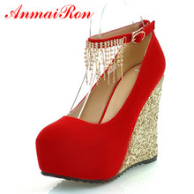 ENMAYER Factory sell 2014 high heel shoes fashion Rhinestone Ankle-straps silver red gold dress wedding pumps hot sale
