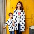 Семейные Сопоставления Горошек Мать Дочь Сын Блузка Одежда Мать и Дочь Одежда Семья Одежда Родитель-Ребенок Набор NS29