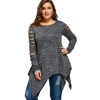 CharMma Plus Size 5XL 4XL T Shirt Women Long Sleeves 2017 Autumn Winter Marled Ripped Sleeve