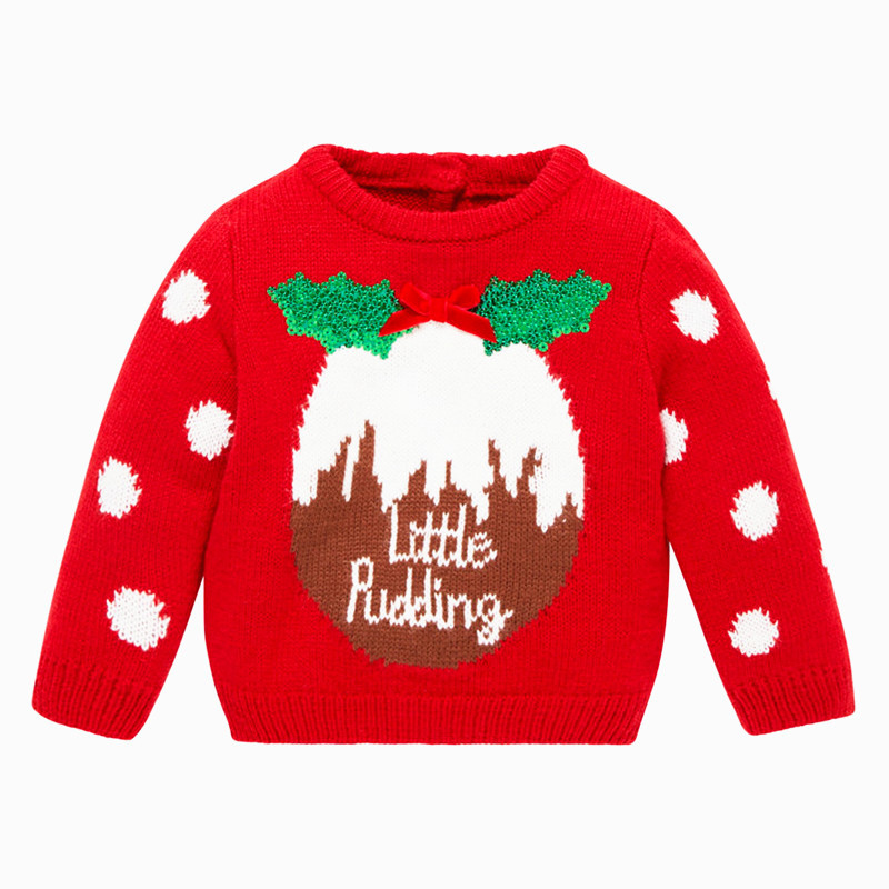 Little Maven New Boys Girls Spring Autumn Winter O-neck Full Cotton Christmas Pudding Pullover Knitted Casual Sweaters