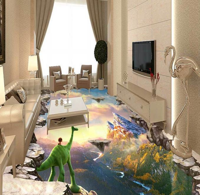custom 3d floor Animated mountain fissure wallpapers for living room 3d floor painting self adhesive floor wallpaper
