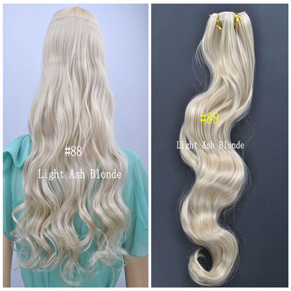 88 Light Ash Blonde Color Synthetic Wavy Clip In Hair One Piece Only