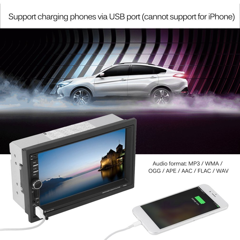 7020G Car Bluetooth Audio Stereo MP5 Player with Rearview Camera 7 inch Touch Screen GPS Navigation FM Function 7inch touch screen 7020g car bluetooth audio stereo mp5 player stand by rearview camera gps navigation fm function
