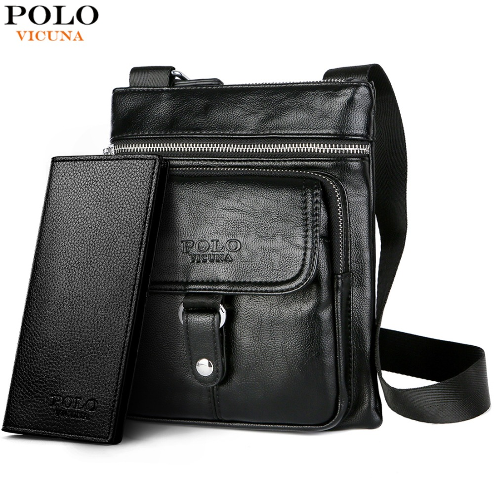 VICUNA POLO Brand New Men Crossbody Bags Leather Casual Man Travel Shoulder  Bag Button Open Business Messenger Bag For Male 04efb9bf85691