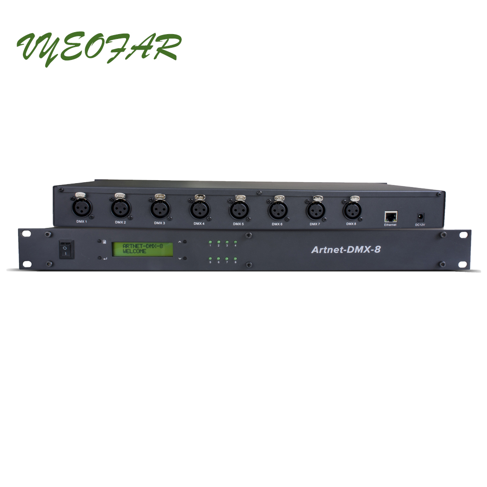 Ltech ArtNet-DMX-8 Led Controller;Artnet to DMX512 Signal converter;512channel input 8 ports output Artnet-DMX Control System dmx512 digital display 24ch dmx address controller dc5v 24v each ch max 3a 8 groups rgb controller