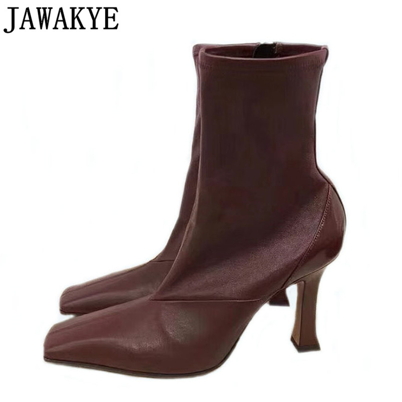 Genuine Leather Ankle Boots For Women 9.5 Cm High Heels Square Toe Runway 2018 Sexy Slim Shoes Wine Red Green Zapatos Mujer