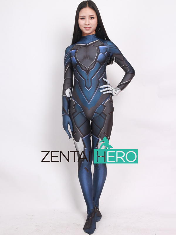 ZentaiHero 2017 Blue Game Costume 3D Printing Female Superhero Costume Newest Cosplay Costume Zentai Catsuit For Halloween