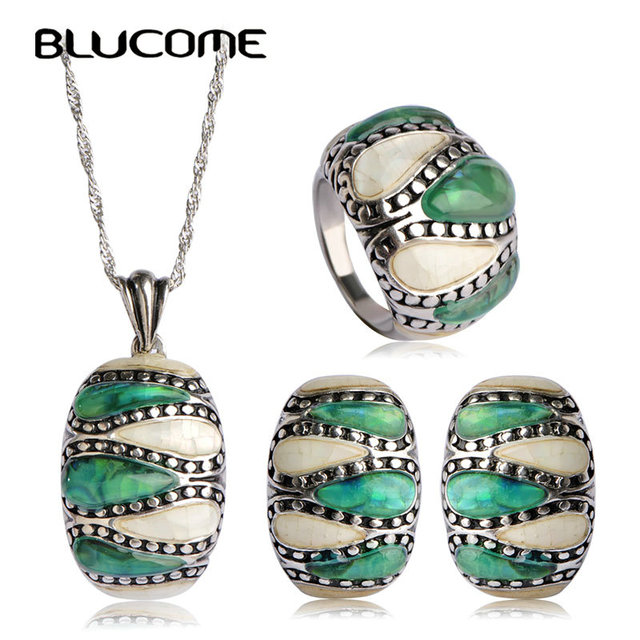 Blucome Classic Abalone Shell Square Jewelry Sets For Women Lady Party Vintage Luxury Pendant Necklace Earring Ring Set Bijoux
