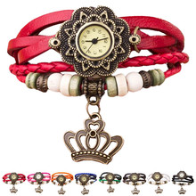 Weave Женщины Часы Дамы Винтаж Шарм Корона Украшения Кожаный Браслет Кварцевые Наручные Часы Ювелирные Изделия reloj mujer часы женщины