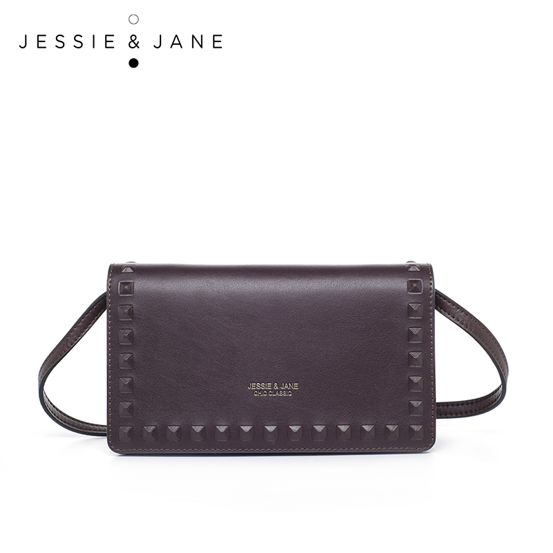 JESSIE JANE 2016 New Rivet Shoulder Messenger Bag 1339 Fashion Ladies Leather Crossbody Bag
