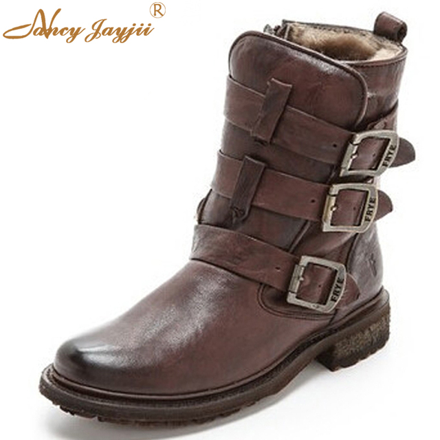 4142e8be77f6 Valerie Shearling Strappy Women Boots Wrinkled Leather Moto Boots Feel  Luxurious With Full Shearling Lining