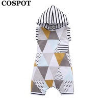 COSPOT 2018 New Summer Hooded Jumpsuit Baby Girls Boys Toddler Rompers Soft Cotton Sleeveless Body Suit