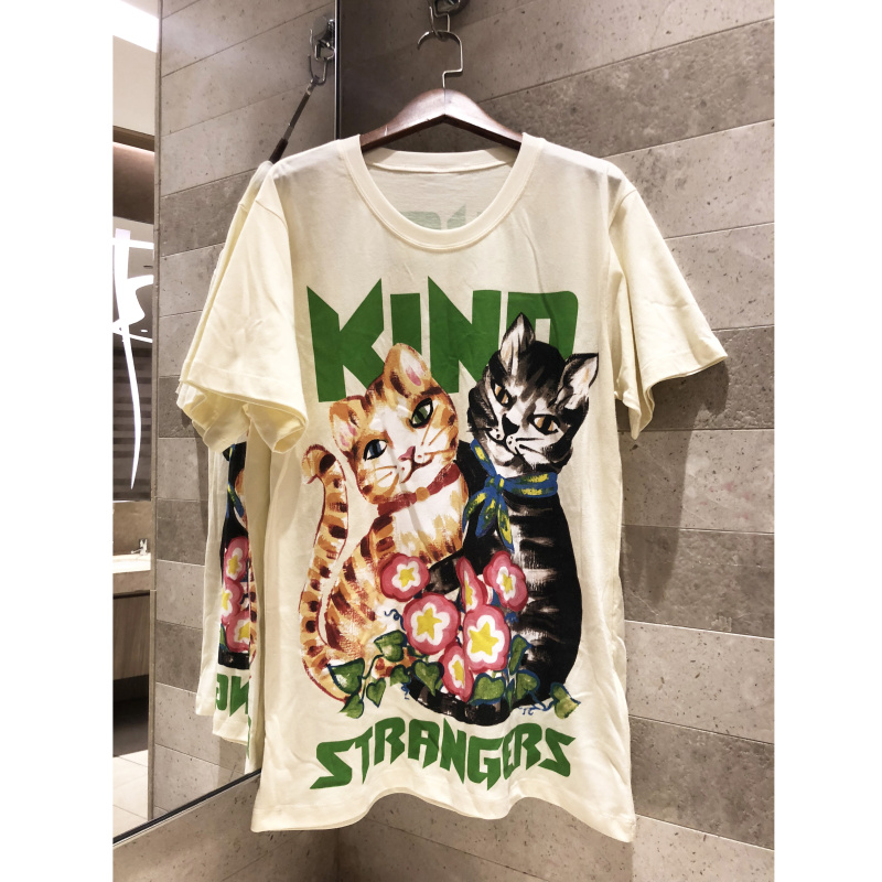 2019 new casual T shirt short sleeved summer basic Oil painting cat print cotton T shirt