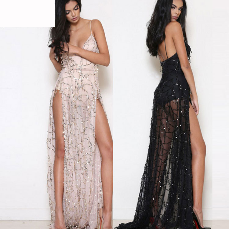 Buy Cheap 2017 Latest Sexy Women Dress Spaghetti Strap Sequin Maxi Long Dresses High Split Evening Party Elegant Loose Mermaid Dresses