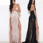 Save 11.29 on 2017 Latest Sexy Women Dress Spaghetti Strap Sequin Maxi Long Dresses High Split Evening Party Elegant Loose Mermaid Dresses
