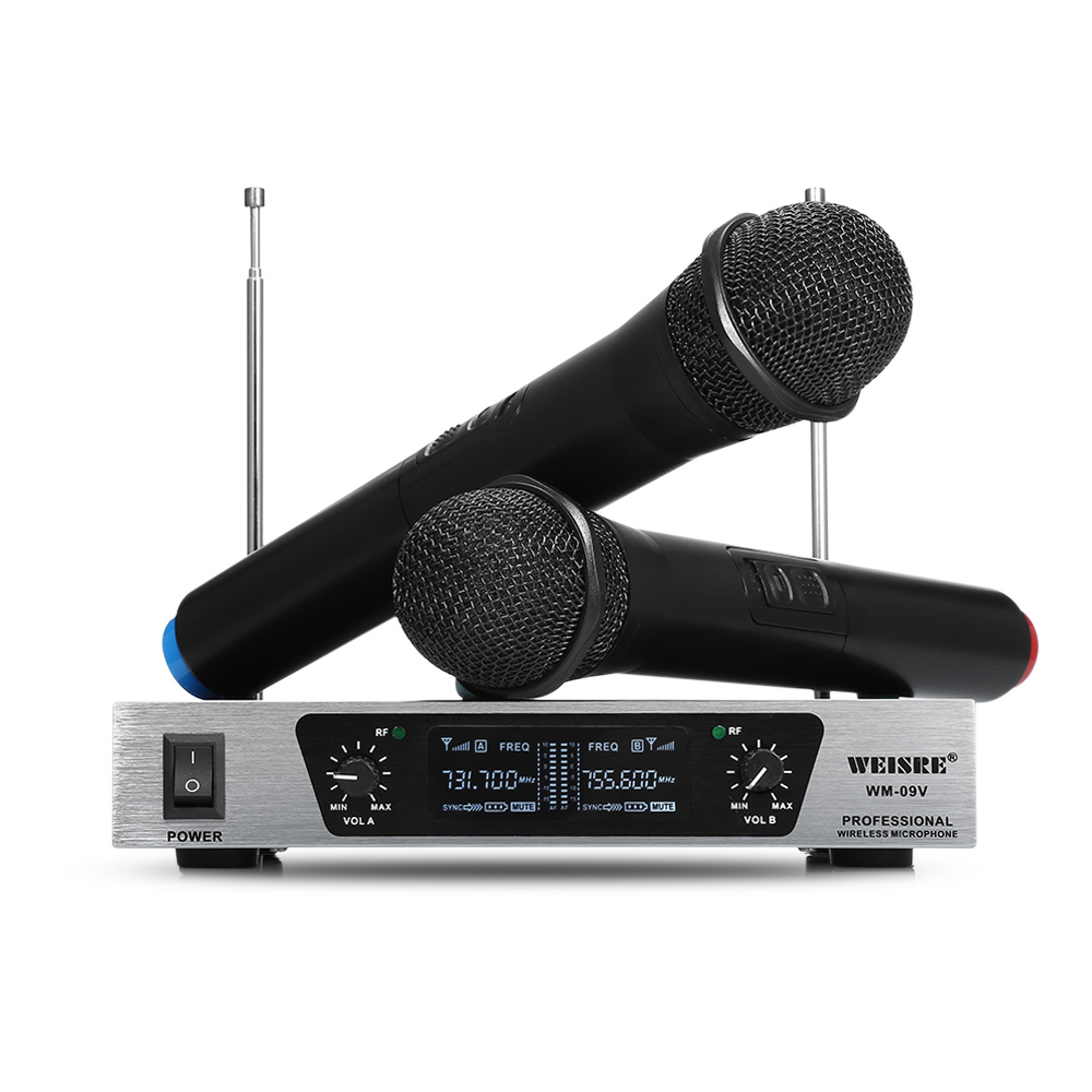 WEISRE WM-09V 2 Handheld Wireless Microphone System VHF Karaoke Machine With Dual Channel Receiver For Home KTV Party Speech ur6s professional uhf karaoke wireless microphone system 2 channels cordless handheld mic mike for stage speech ktv 80m distance