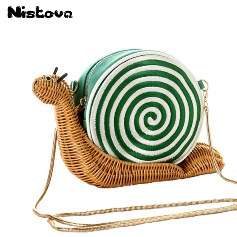 New Style Snail Straw Handbag Embroidery Knitting Bag Fashion Casual Shoulder Bag Students Oblique Messenger Bag цена 2017