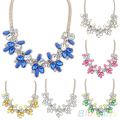Hot Fashion Party Bright Crystal Drop Resin Flower Statement Choker Bib Necklace  01UC