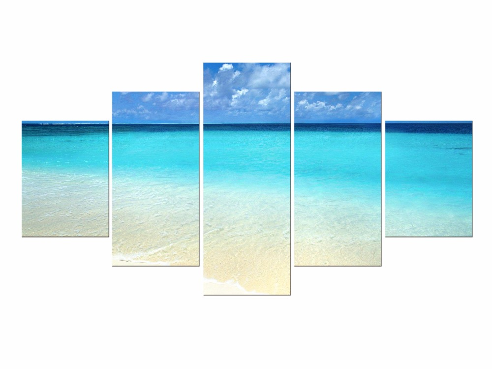 5 Pieces Free shipping canvas art beach pictures seascape painting wall Framed