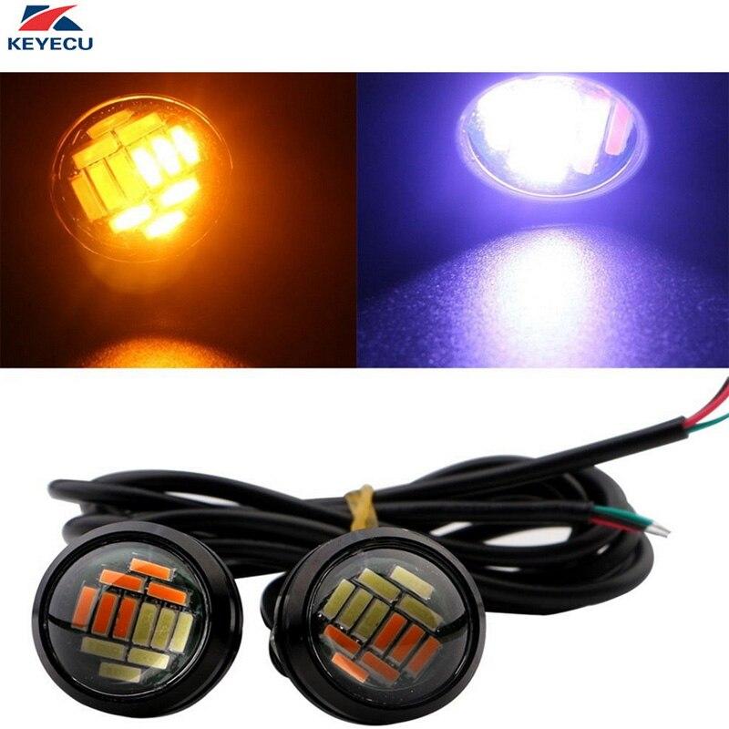 KEYECU 2 Pieces 12V High Power Dual Color White Amber Switchback 23MM 12SMD 4014 LED Eagle Eye Bumper DRL Fog Light