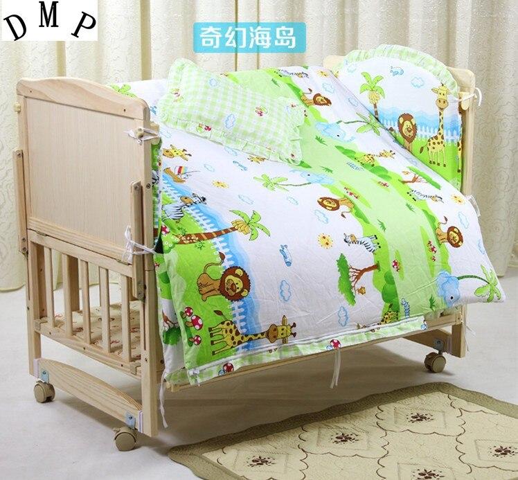 Promotion! 7pcs Baby & kids cot bedding set kit baby bed sheets (bumper+duvet+matress+pi ...