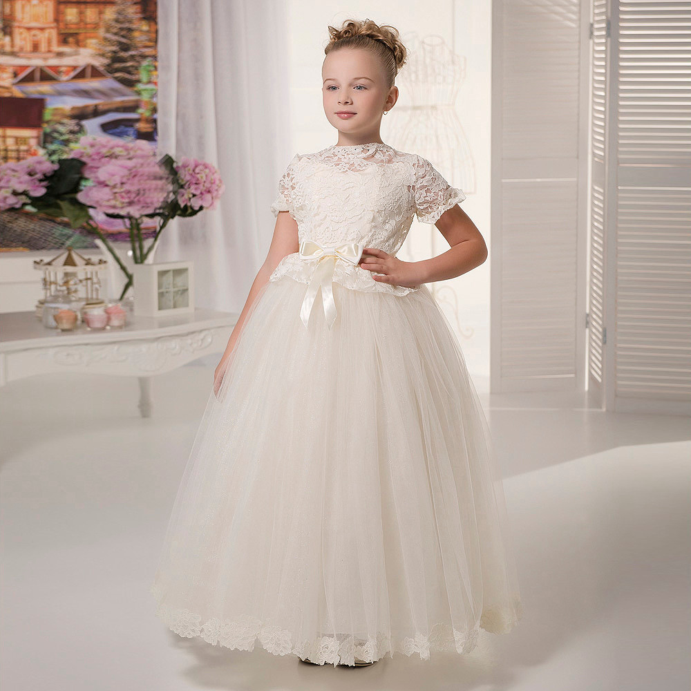 цена на White Ivory Custom Flower Girl Dresses Lace Short Sleeves O-neck Formal Bow Belt Pageant Dresses for Girls Glitz Vestidos Longo