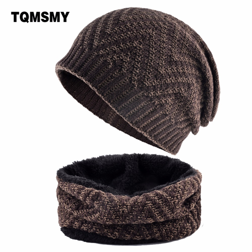 7d5c13aa9 TQMSMY Winter Hat Skullies Beanies Men Women Knitted Hat Scarf Ripple Style  Thick Mask Balaclava ...