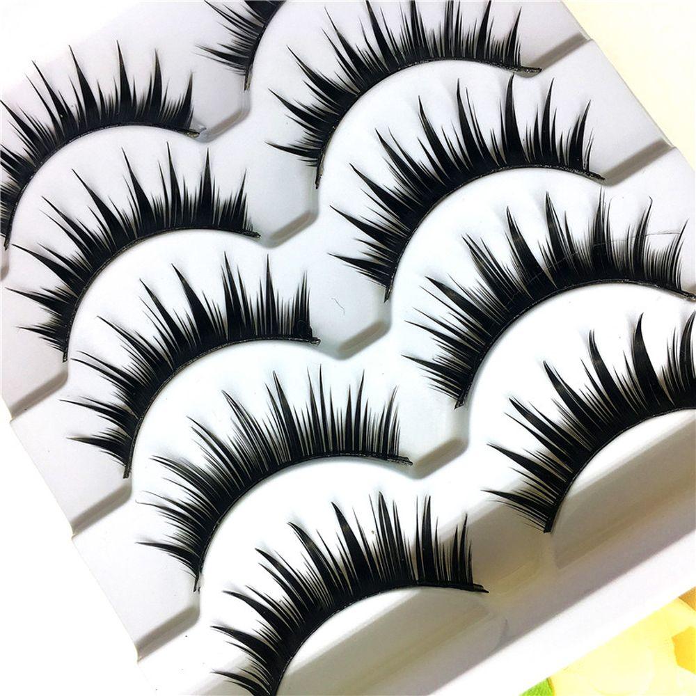 5pairs New Fashion Naturally Thick Long Black Handmade False Eyelashes Extension High Quality Makeup Tools Beauty Beauty & Health