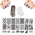 BC Series 12x6cm Nal Stamping Plate Set Birds Designs Steel plate Manicure DIY Nail Art Templates + Stamper + 1 Scraper Beauty