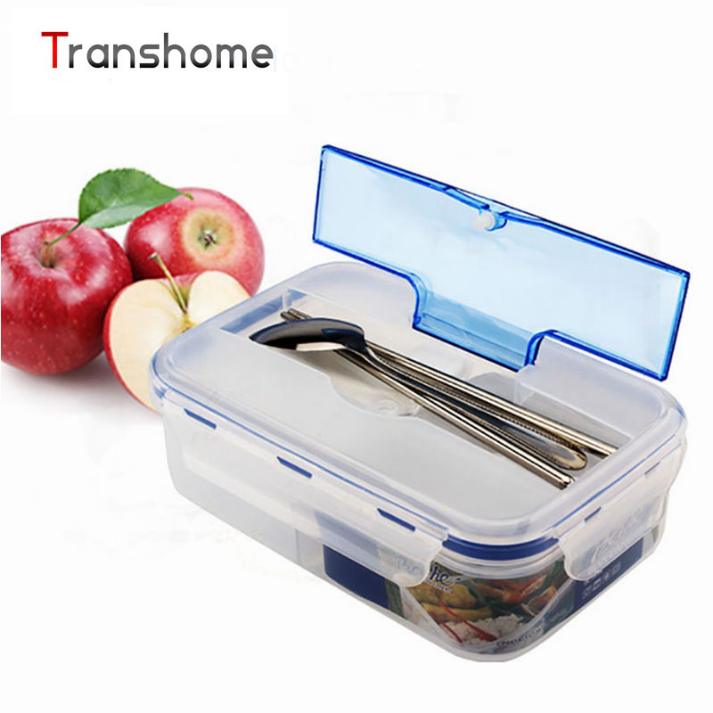 TRANSHOME 1000ml Bento Modern Transparent Portable Microwave Lunch Box With Soup Bowl Chopsticks Spoon