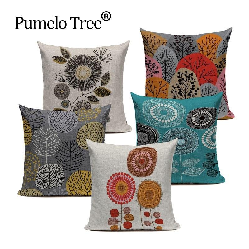 High Quality Cushion Covers Cartoon Plant  Sofa Pillowcase Home Decoration Custom Multicolor Sofa Cushion Cover For Living Room