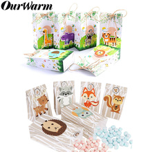 OurWarm 12Pcs Safari Animals Paper Candy Gifts Bags Jungle Party Decorations Sweet Box Woodland Birthday Supplies