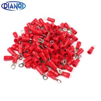 DIANQI RV1 25-3 czerwony pierścień izolowany przewód złącze elektryczne Crimp Terminal RV1 25-3 kabel drutu złącze 100 sztuk RV1-3 RV tanie i dobre opinie RV1 25-4 RV1-4 brass and plastic