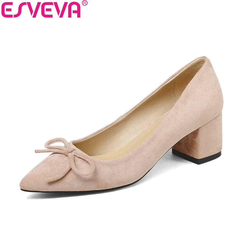 ESVEVA 2018 Women Pumps Shoes Butterfly-knot Sweet Style Slip on Square High Heels Flock Pointed Toe Women Shoes Size 34-43 2017 shoes women med heels tassel slip on women pumps solid round toe high quality loafers preppy style lady casual shoes 17