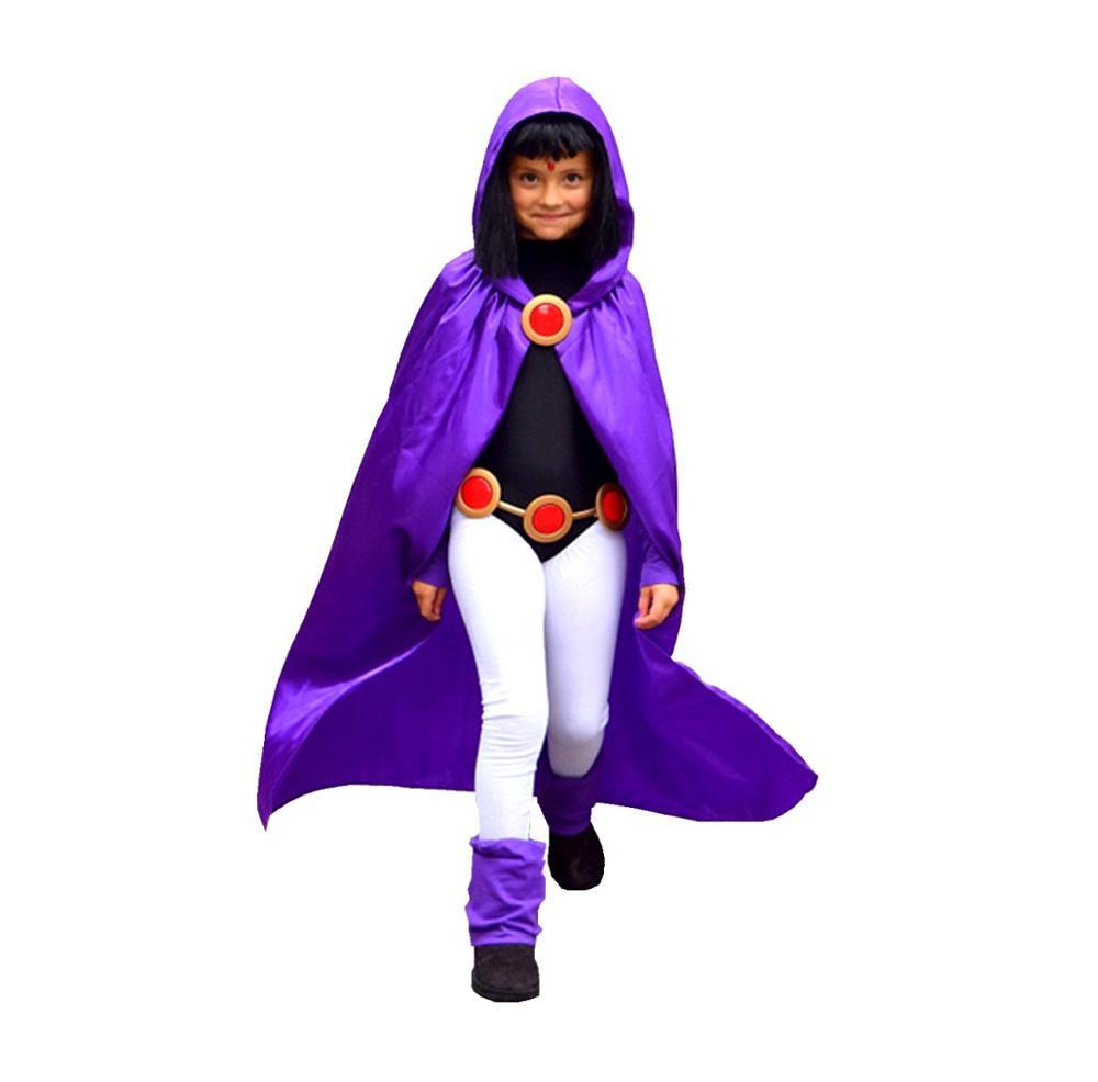 Deluxe Kids&Adult Girls Dress Like Teen Titan Raven Costume For Cosplay & Halloween 4pcs/1set Birthday Party Costume