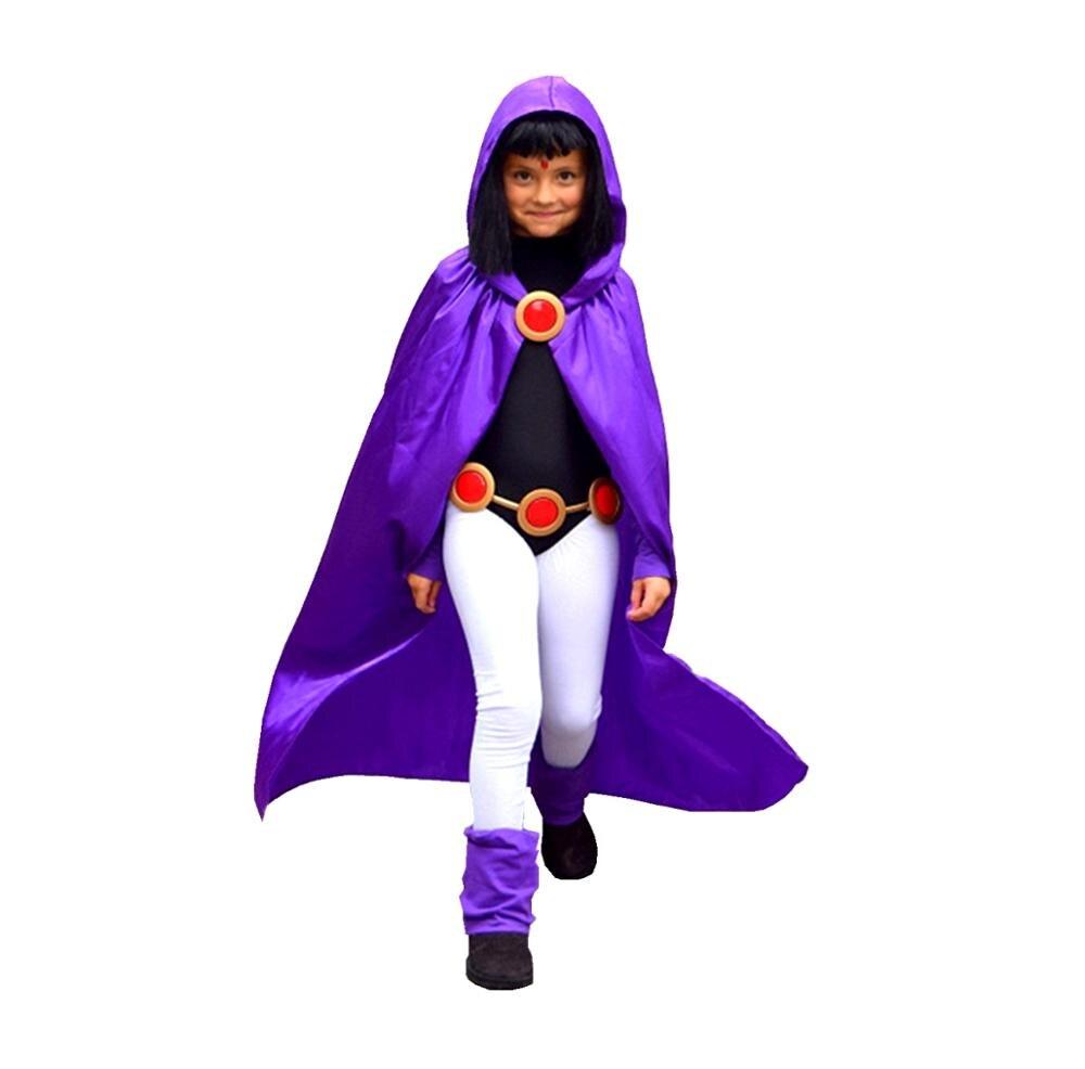 Deluxe crianças e meninas adultas vestido como teen titan raven traje para cosplay & halloween 4 pçs/1 conjunto festa de aniversário traje