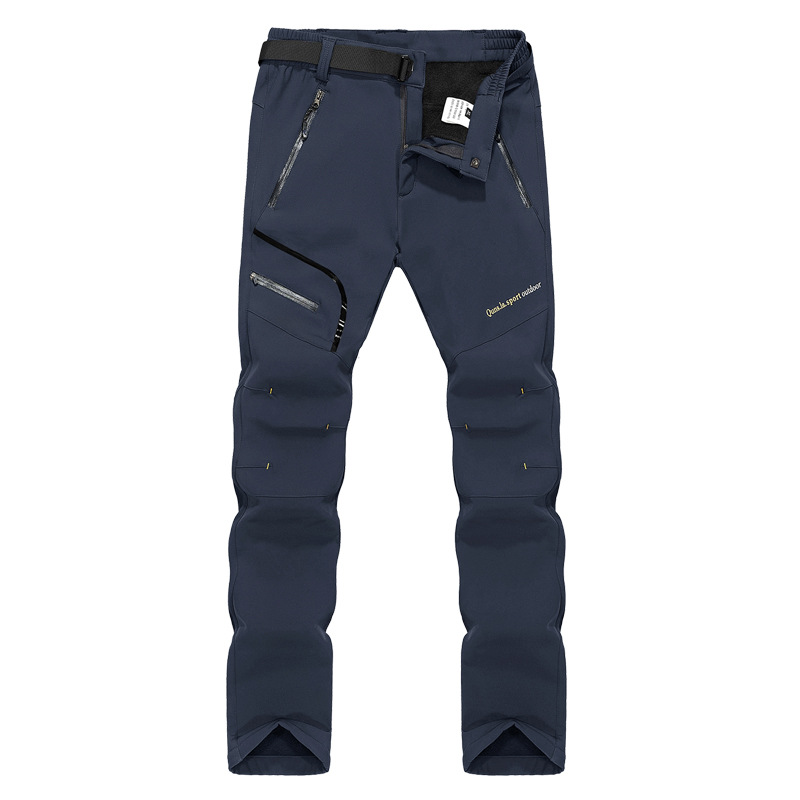 Outdoor Pants Autumn and winter soft shell hiking pants for <font><b>men</b></font> and women plus velvet <font><b>6XL</b></font> <font><b>Men's</b></font> Quick Dry breathable trousers image