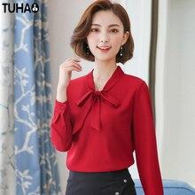TUHAO 2018 Spring outfit Long Sleeve Chiffon Women shirt female blouse bow knot plus size 2XL 3XL women's blouses shirts SD03