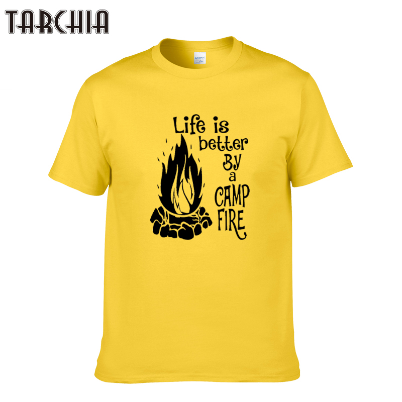 TARCHIA 2019 new male life is better by a camp fire t-shir cotton men short sleeve boy casual homme tshirt tops tees plus