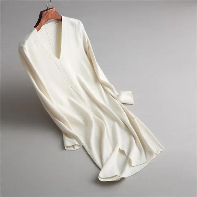 Women s Long Sleeve Autumn Winter Dress V-Neck Solid Color Thick Warm Knitted Sweater Dress A-Line Vestidos De Festa