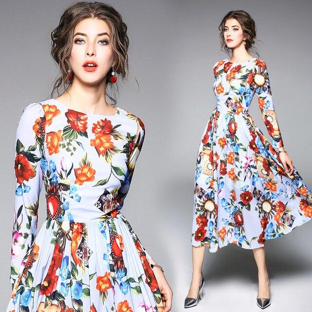 ee123fc30 Print Floral Vestido de Chiffon 2018 Mulheres Da Moda Primavera de manga  Longa A Linha Midi