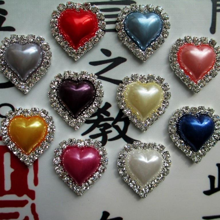 ღ ღ20 unids color amor corazón perla encantos pelo accesorios del ...