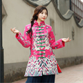 Winter chinese style retro frog contrast color frog dragon print jacket coat cotton padded jacket windbreaker