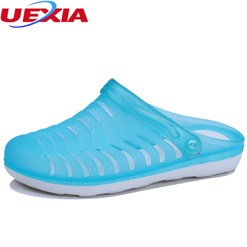 UEXIA 2018 New Summer Mens Casual Garden Clogs Shoes Women Beach Slippers Slides Flip Flops High Quality Beach Sandals Non-slide summer women casual jelly shoes beach slippers breathable waterproof clogs for women hollow slippers flip flops shoes mule clogs