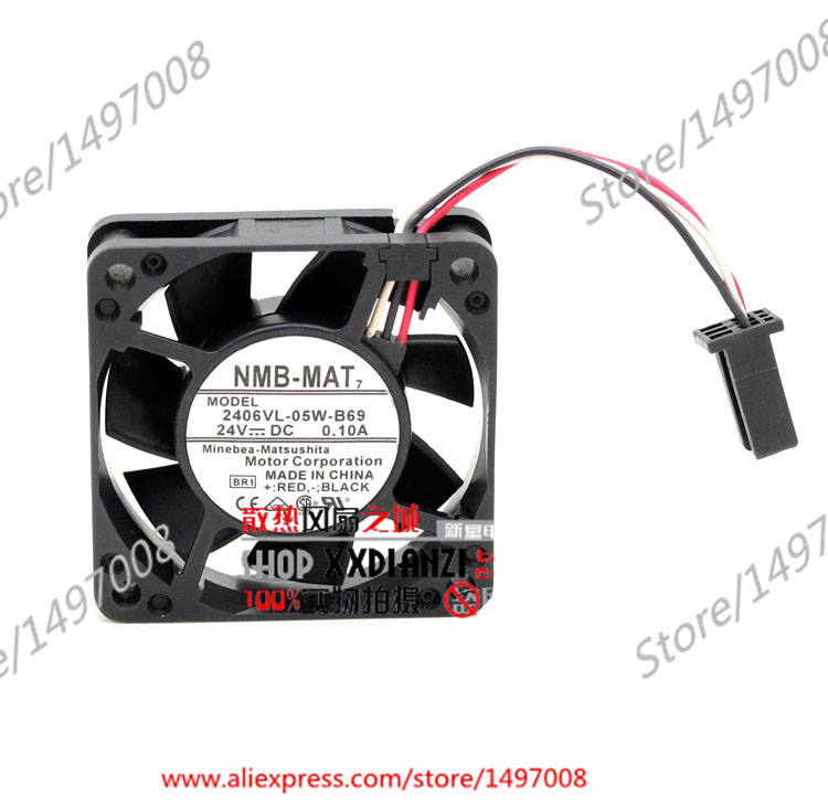 NMB-MAT 2406VL-05W-B69, BR1 DC 24V 0.10A , 60X60X15mm Server Square fan new original nmb 9cm9038 3615rl 05w b49 24v0 73a 92 92 38mm large volume inverter fan