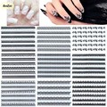 BlueZoo 30pcs White Black 3D Lace Nail Sticker On Nail Flower Nail Art Stickers Decals Nail Tips Accessories DIY Nail Beauty